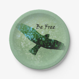 Nature Green Trees Bird Soaring Crow Be Free Paper Plate