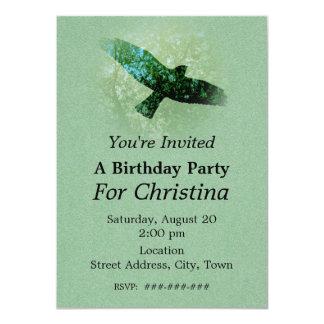 Nature Green Trees Bird Soaring Crow Birthday Card