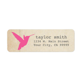 Nature Hummingbird Pink Tan Rustic Bird Return Address Label