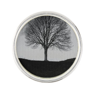 Nature in black and white lapel pin