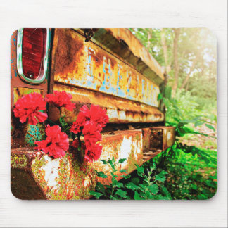 Nature Inspired Rusty Car and Flower Mousepad