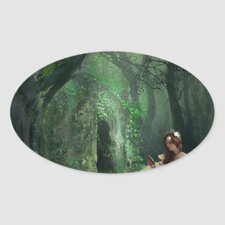 NATURE IS HER ADORNMENT OVAL STICKER