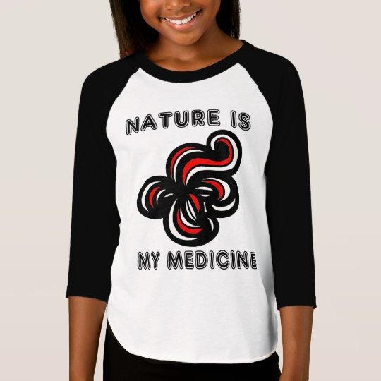 """Nature is My Medicine"" Girls' 3/4 Raglan T-Shirt"