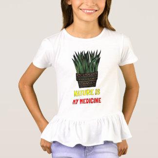 """""""Nature is My Medicine"""" Girls' Ruffle T-Shirt"""