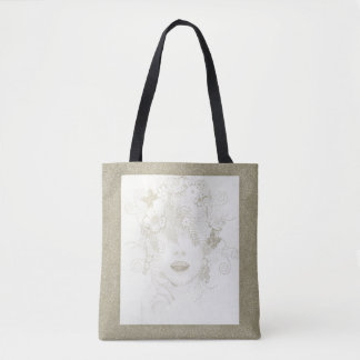 Nature Lady in Gold Glitter, All Over Print Tote