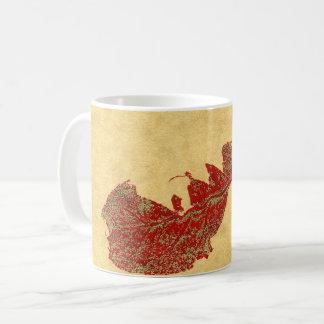 Nature Leaf Print autumn torn leaf in red on tan. Coffee Mug