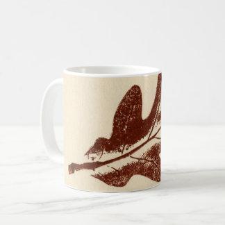 Nature Leaf Print brown white oak leaf worm eaten Coffee Mug