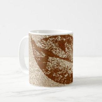 Nature Leaf Print brown winter leaf on tan. Coffee Mug