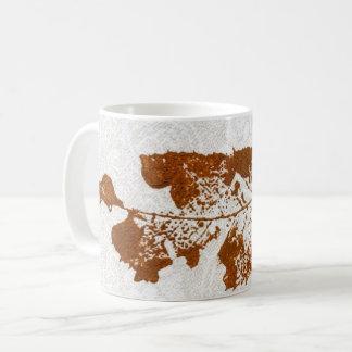 Nature Leaf Print brown winter worm eaten  on tan. Coffee Mug