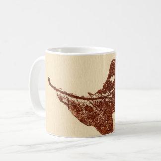 Nature Leaf Print bug chewed winter white oak Coffee Mug