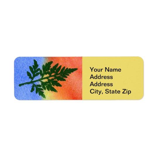 Nature Leaf Print, firn #1 multicolored Return Address Label