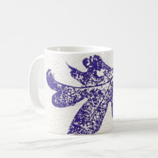 Nature Leaf Print purple white oak leaf worm eaten Coffee Mug