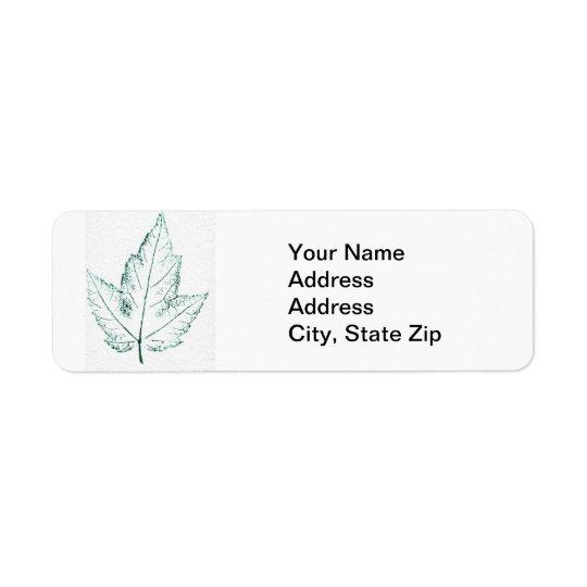 Nature Leaf Print, spring maple in green. Return Address Label