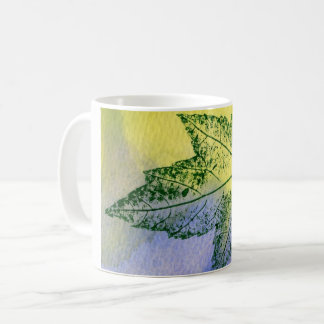 Nature Leaf Print spring maple yellow blue green Coffee Mug