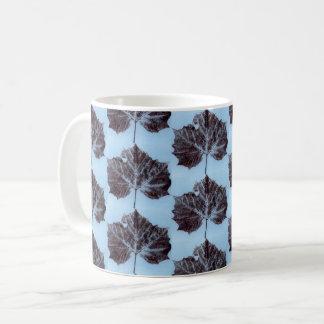 Nature Leaf Print tiled sycamore brown on blue. Coffee Mug