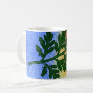 Nature Leaf Print wild firn  in green blue orange Coffee Mug