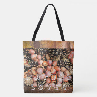 Nature lover, acorns, pines, forest tote bag