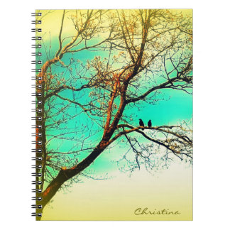 Nature Lovers: Two Crows in a Tree Writing Spiral Notebook