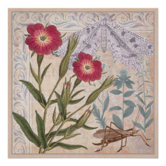 Nature Lover's Wall Art Wildflowers and Insects