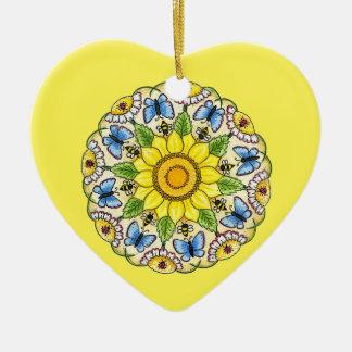 Nature Mandala Ceramic Heart Ornament