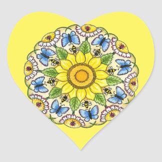 Nature Mandala Heart Sticker