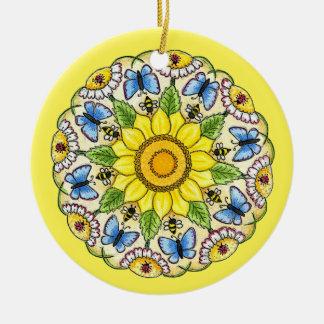 Nature Mandala Round Ceramic Ornament