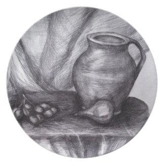 Nature mort drawing pencil sketch Melamine Plate