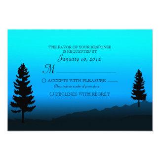 Nature Mountain Duck Blue Wedding RSVP Announcement