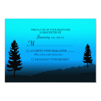 Nature Mountain Duck Blue Wedding RSVP 3.5x5 Paper Invitation Card