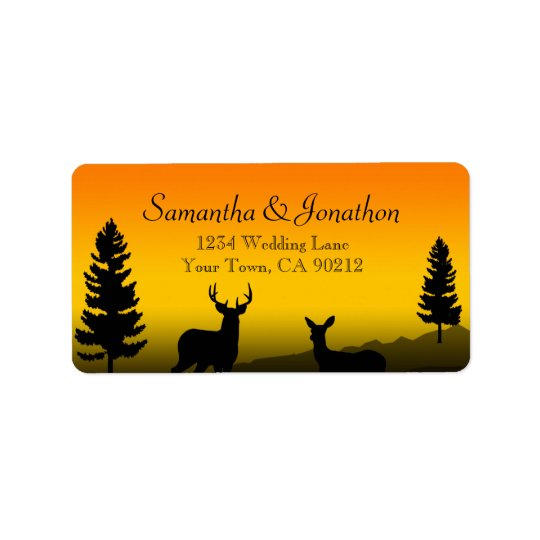 Nature Mountain Sunset Orange Custom Label