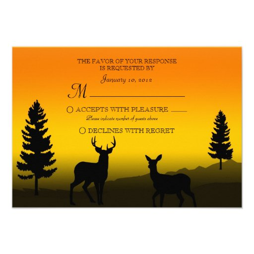 Nature Mountain Sunset Orange Wedding RSVP Invitations