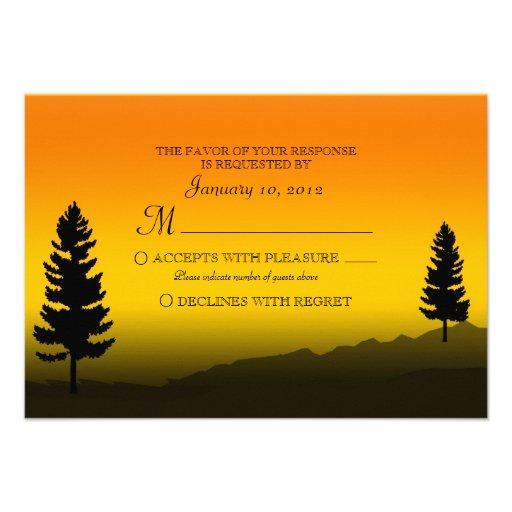 Nature Mountain Sunset Orange Wedding RSVP Invite