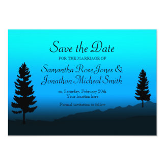 Nature Mountain Wedding Dusk Blue Save the Date 5x7 Paper Invitation Card