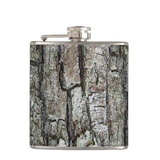 Nature Old Pine Bark Hip Flask