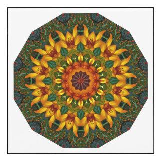 Nature orange d'iris jaune, Fleur-Mandala