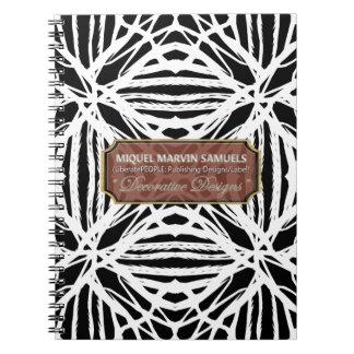 Nature Pattern Black White Modern Notebook