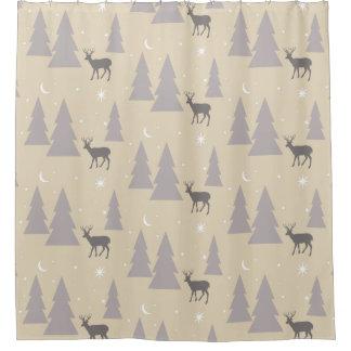 Nature Pattern Deer Trees Moon Stars Gray on Beige