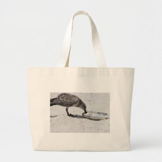 Nature Photo of Bird Eating Fish Large Tote Bag