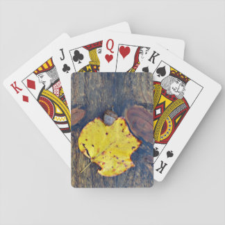 Nature Photography Autumn Leaf & Acorn on Wood Poker Deck