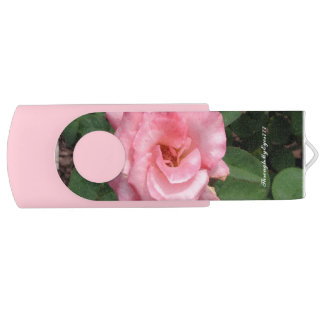 Nature Pink Rose in Bloom USB Stick with Pink Back Swivel USB 2.0 Flash Drive