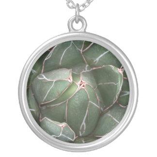 Nature Plant Mandala Aloe Plant  Round Necklace