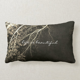 nature quote art pillow on gray and sepia