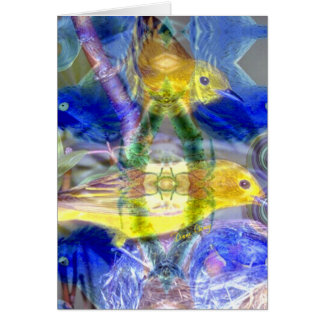 Nature Reflections I - Gold & Blue Birds Greeting Card