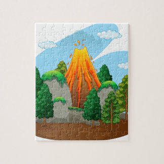 Nature scene with volcano eruption jigsaw puzzle