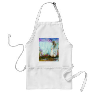 Nature School, Mama and Baby Rabbits Abstract Art Standard Apron
