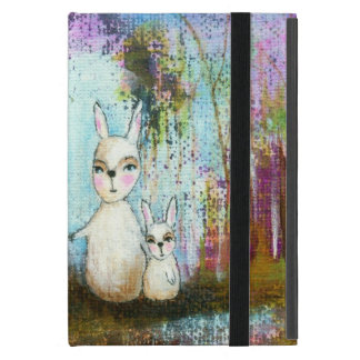Nature School, Mama and Baby Rabbits Abstract Art iPad Mini Case