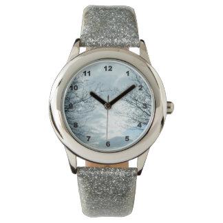 Nature Silver Glitter Wrist Watch