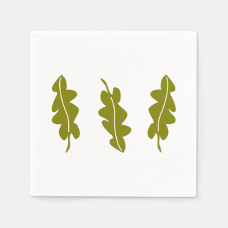 Nature Spring Green Leaves Pattern, Boho Hipster Paper Napkin