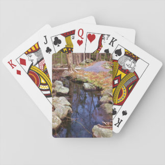 nature stream trees playing cards