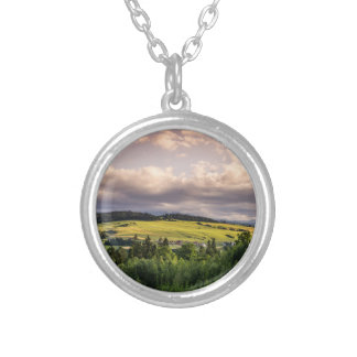 Nature Sunset Hills Landscape In Poland Silver Plated Necklace